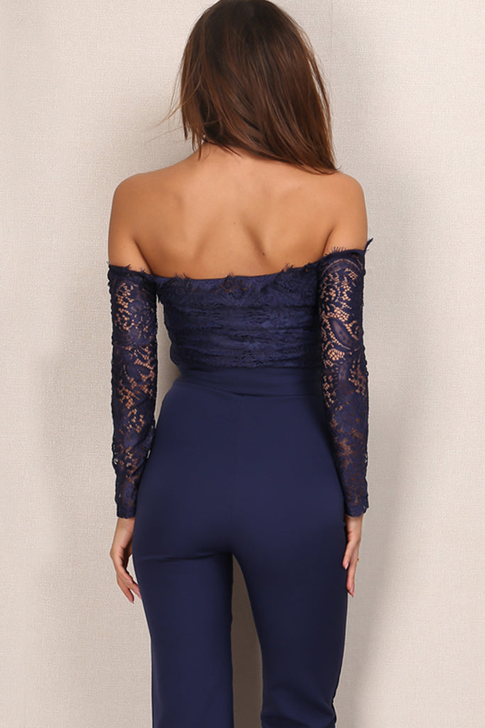 df25f0084e1e Moulin Rouge Lace Jumpsuit - Navy