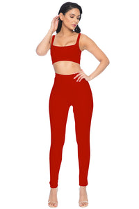 Park Ave High Waisted Legging - Red
