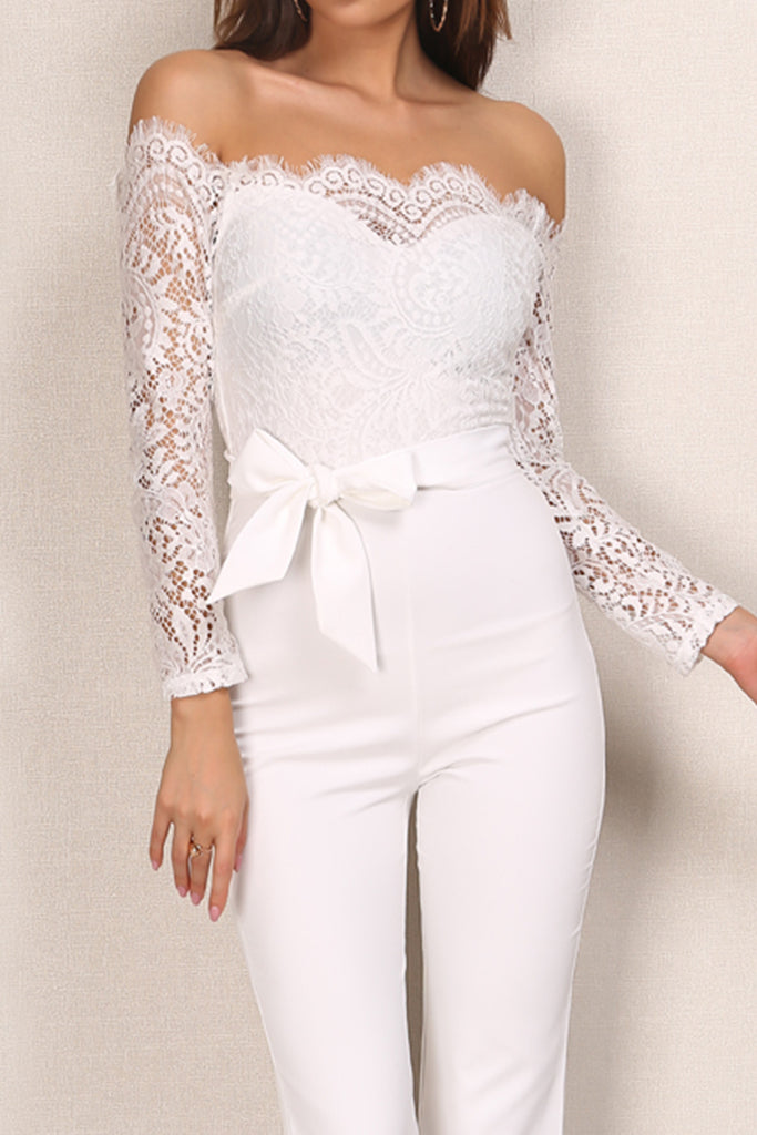 e192be148291 Moulin Rouge Lace Jumpsuit - White