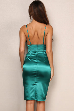 Satin Midi Dress - Emerald