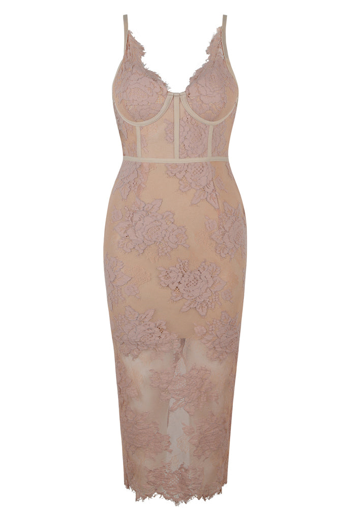 Aaliyah Lace Bandage Dress - Apricot