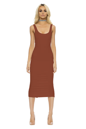 Classic Midi Dress - Brown