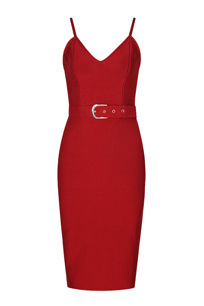 Amore Strap Bandage Dress - Red