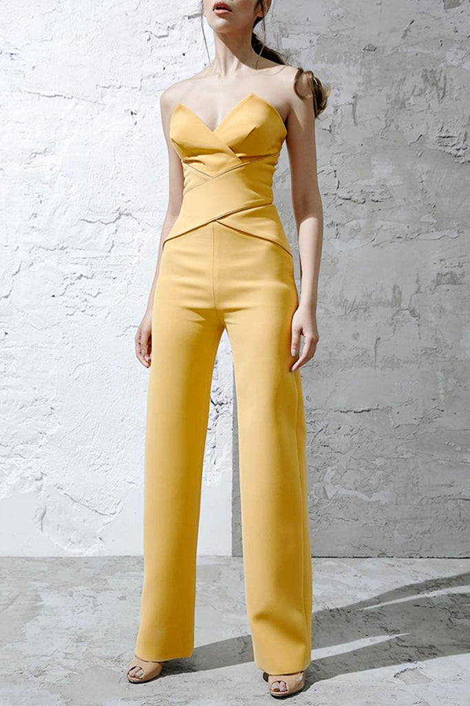 Nana Strapless Jumpsuit- Yellow