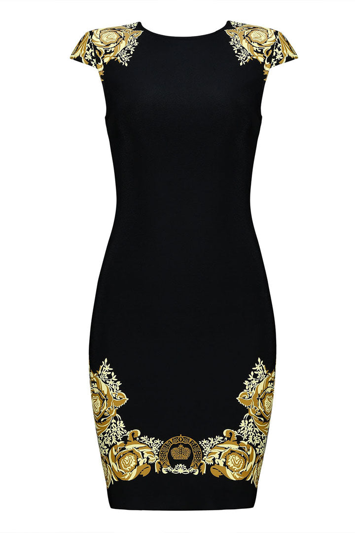 Aline Golden Flora Bandage Dress