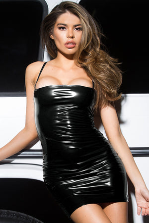 Cobain Vinyl Bodycon Dress - Black