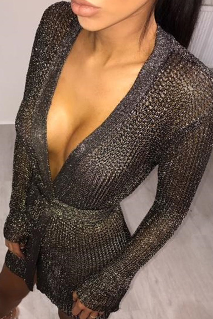 Dubai Mini Metallic Knit Wrap Dress - Black