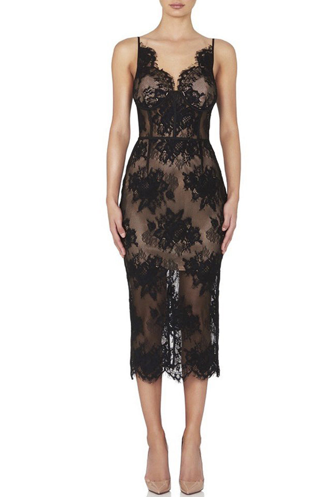 Aaliyah Lace Bandage Dress - Black