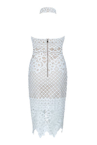 Claire Lace Bandage Dress- White