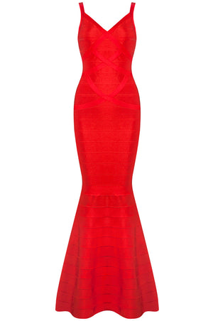 Elisa Fishtail Bandage Gown- Red