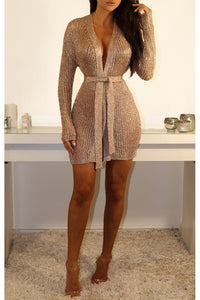 Dubai Mini Metallic Knit Wrap Dress - Rose