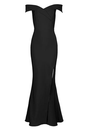 Casablanca Off The Shoulder Bandage Gown - Black