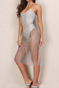 Instafamous Glitter Midi Dress - Gold or Silver