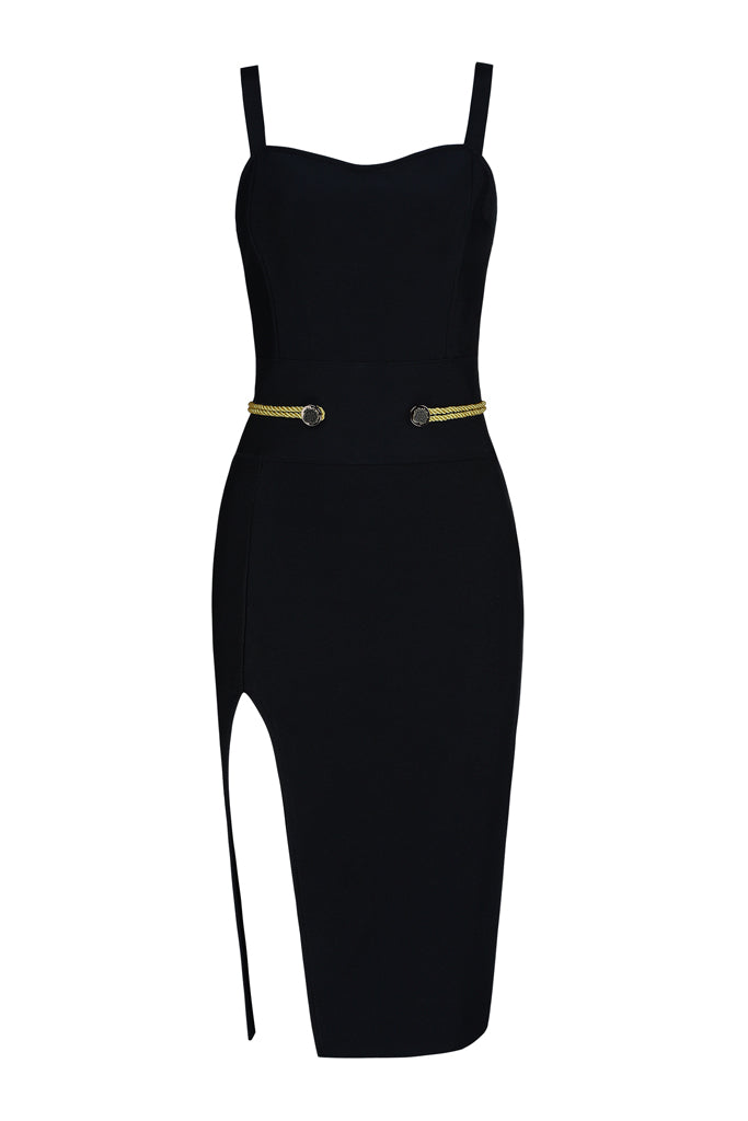 Carly Slit Strap Bandage Dress-Black