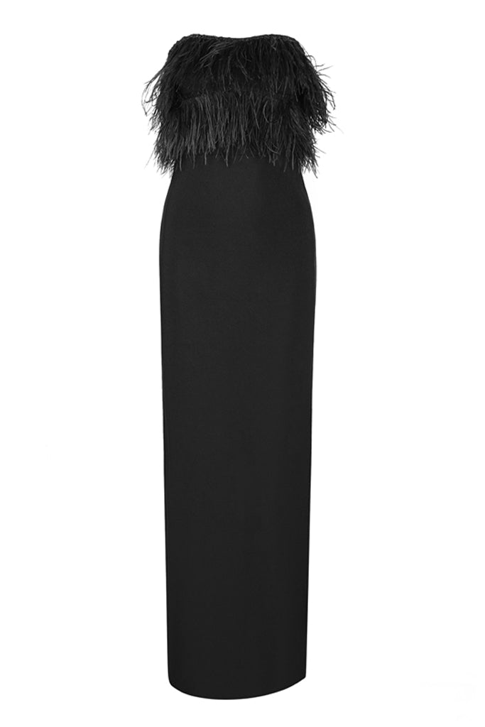 Alessia Ostrich Feather Strapless Bandage Dress-Black