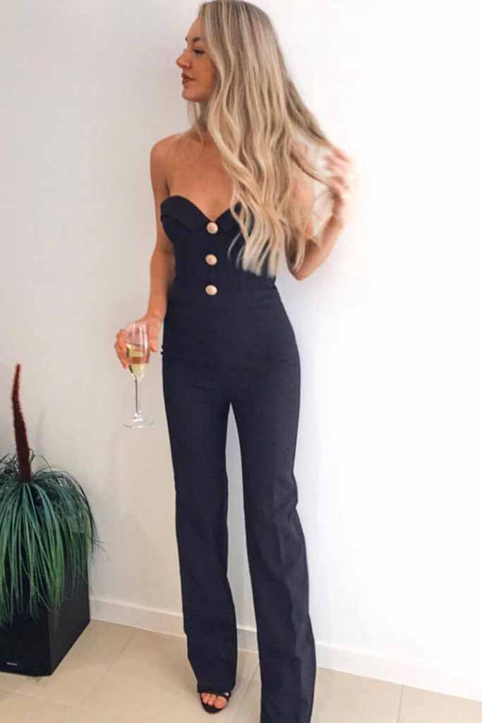 Sheer All Night Strapless Bodycon Jumpsuit In Black