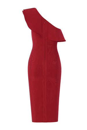 Pearl Bandage Dress-Red
