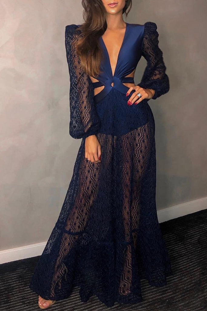 Bey Hollow Out Backless Gown In Blue