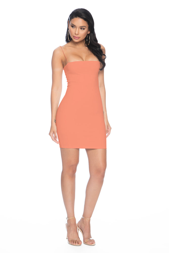 7th Street Classic String Tank Dress - Peach