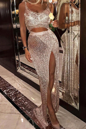 Abudabi Metallic Knit Maxi Skirt