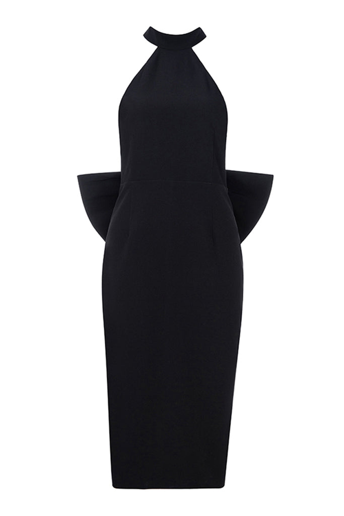 Bowknot Backless Dress In Black