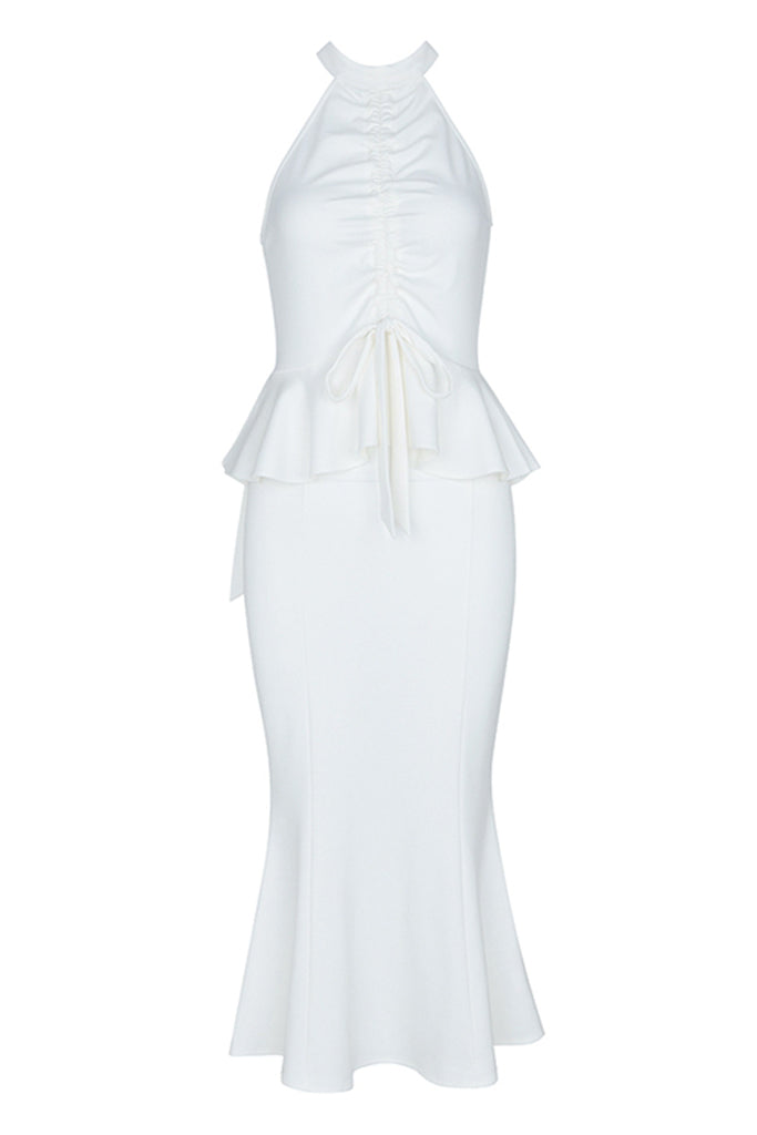 Vivi Ruched Bodycon Dress In White