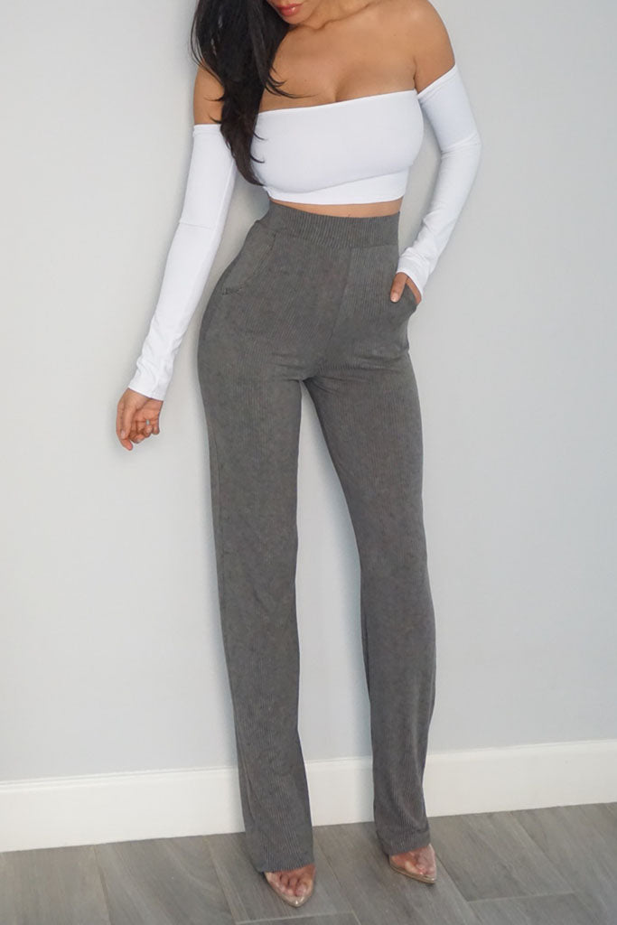 Encore Ribbed Pant - Grey
