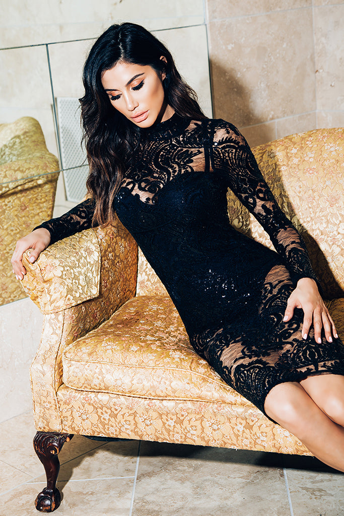 Stella Sequin Lace Dress - Black