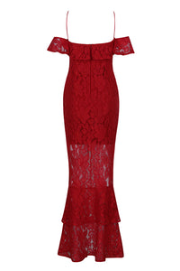 Blanche Lace Bandage Gown- Red