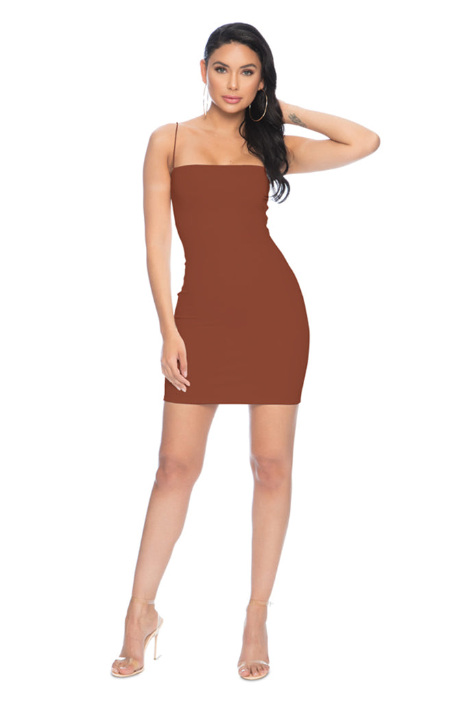 7th Street Classic String Tank Dress - Brown