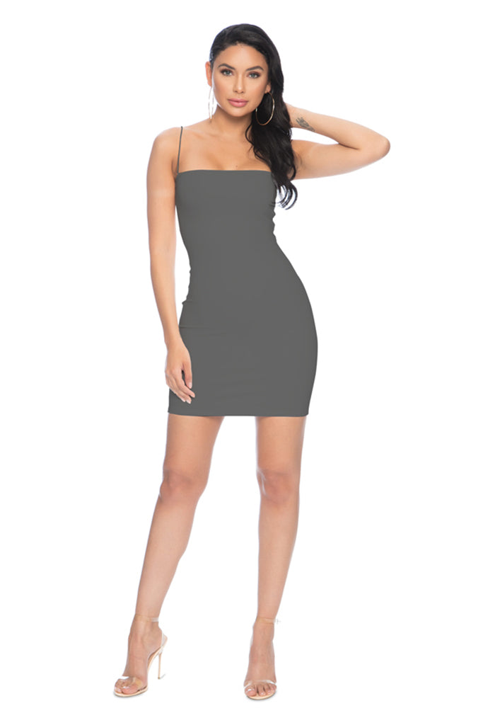 7th Street Classic String Tank Dress - Grey