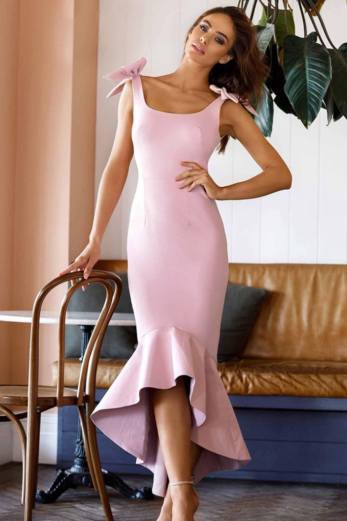 Poppy Mermaid Gown With Bow - Pink