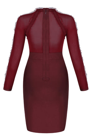 Aisha Mesh Bandage Dress -Wine Red
