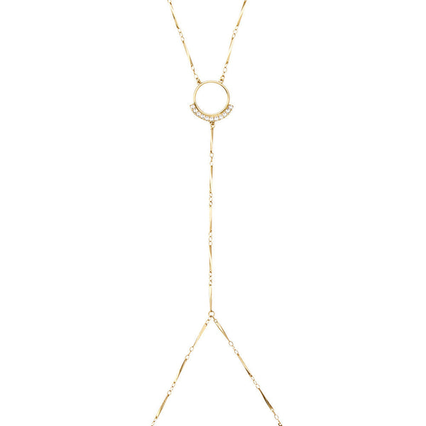 Pave Edge Body Chain Gold