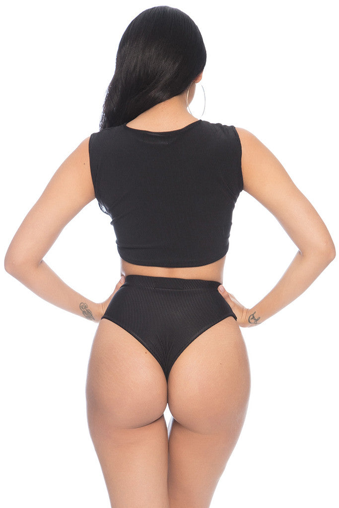 Kaia Ribbed Bottom - Black