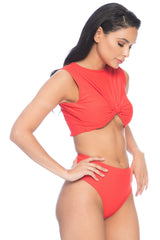 Kaia Ribbed Top - Red