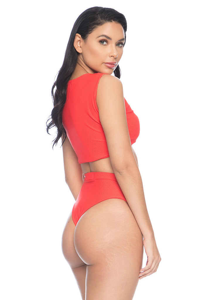 Kaia Ribbed Bottom - Red