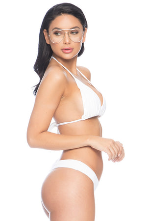 Kaia Ribbed String Top - White