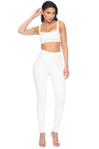 Park Ave High Waisted Legging - White