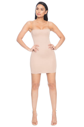 7th Street Classic String Tank Dress - Nude