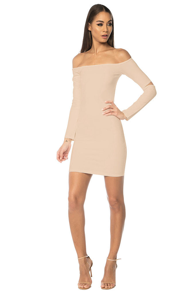 Song Off Shoulder Basic Dress - Nude