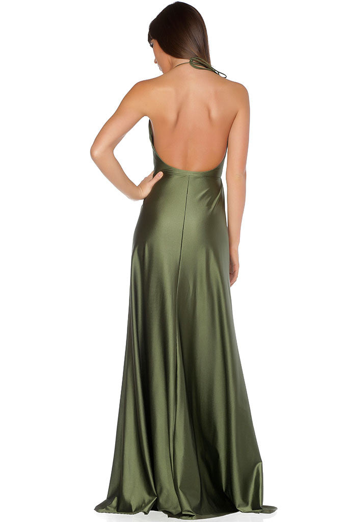 Olive and Ivory Evening Dress