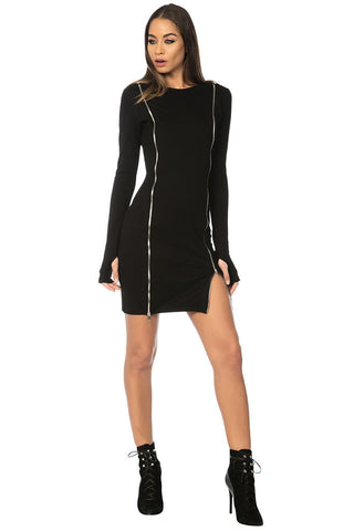 Calia Zippered Bodycon Dress