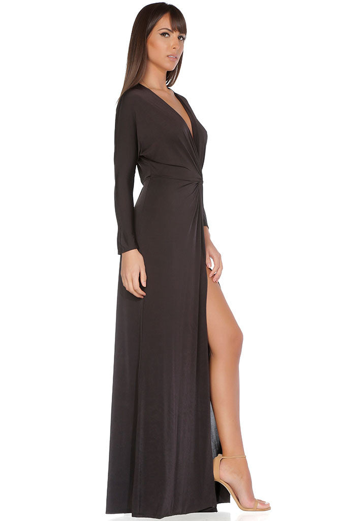 Penelope Evening Gown - Shiny Brown