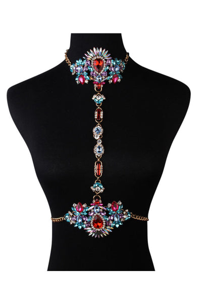 Embellished Cristal Choker & Body Harness - Morroco