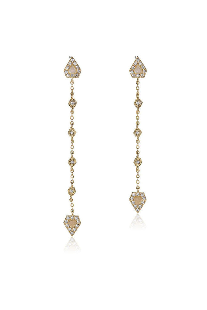 Moonstone Chain Drop Earrings