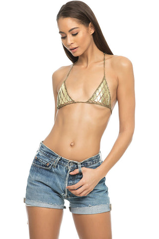 Heavy Metal Chain Bra - Gold