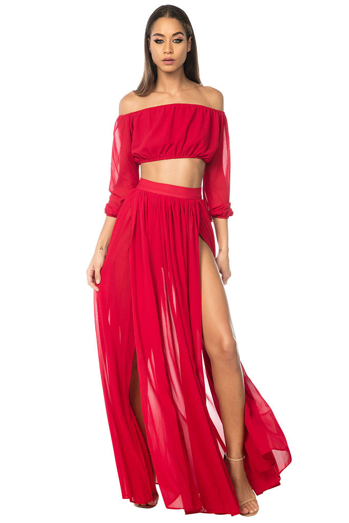 Gitana Chiffon Two-Piece - Red