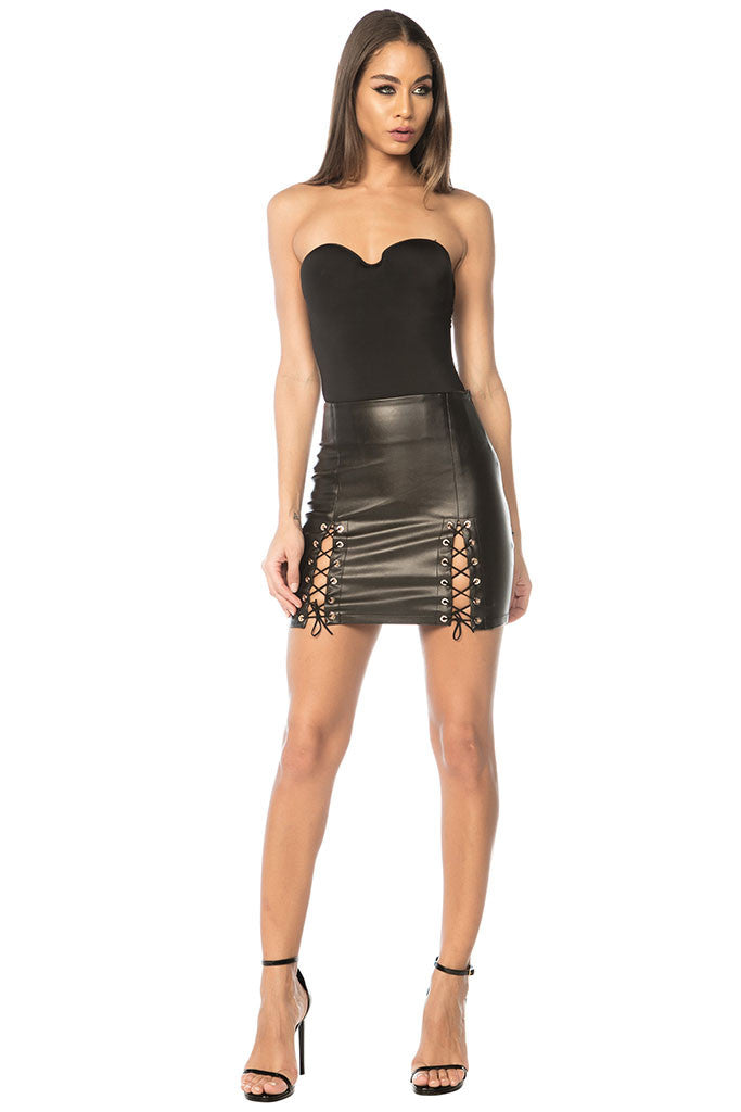 Piper Vegan Leather Lace Up Skirt