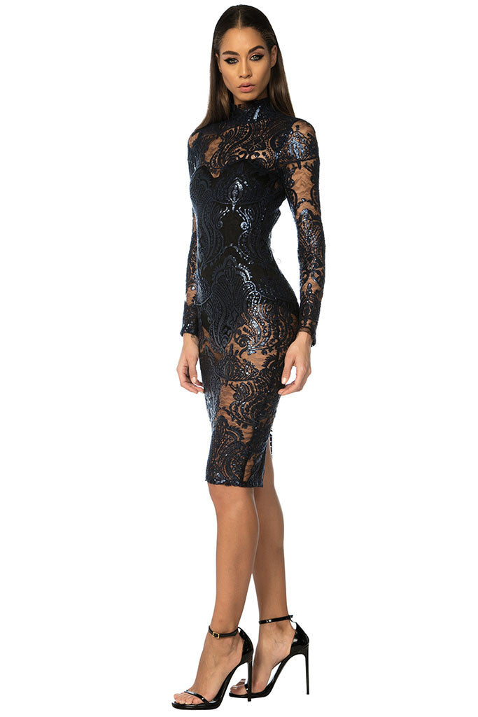 Stella Sequin Lace Dress - Navy